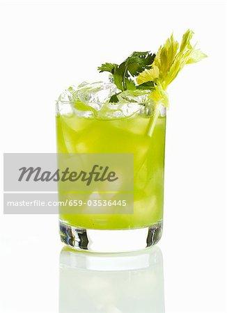 Vodka Lime Cocktail with Celery Garnish