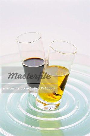 Olive oil and balsamic vinegar in two glasses