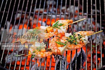 Barbecued prawn skewers