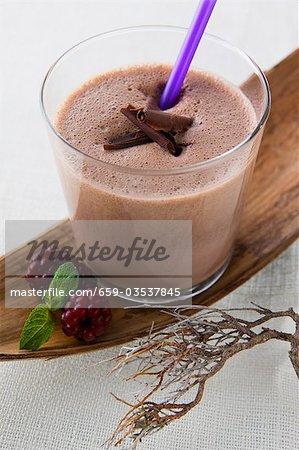 Chocolate shake and blackberries