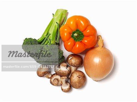 Mixed Fresh Vegetables; White Background