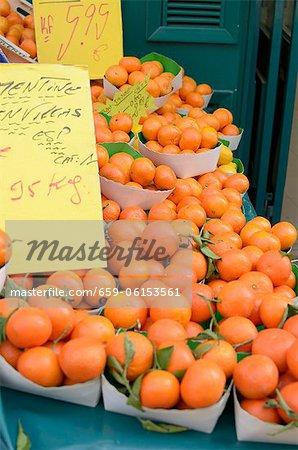 Fresh tangerines at the market