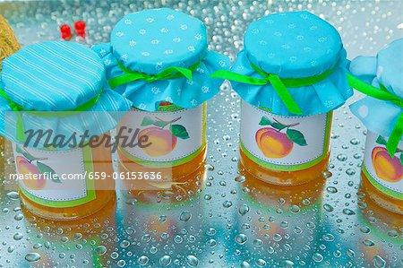 Peach jam in a jar