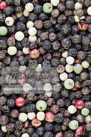 Many varieties of pepper corns
