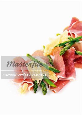 Parma ham, green asparagus and Parmesan
