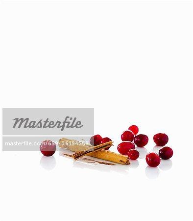 Cranberries and cinnamon sticks