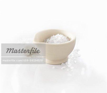 Kosher salt in a mortar
