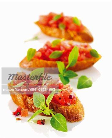 Bruschetta with chopped tomatoes