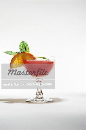 Frozen Strawberry Daiquiri with Orange and Mint Garnish
