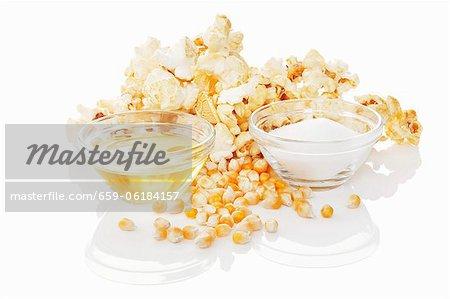 Popcorn, corn seeds and ingredients