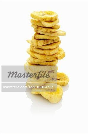 A stack of banana chips
