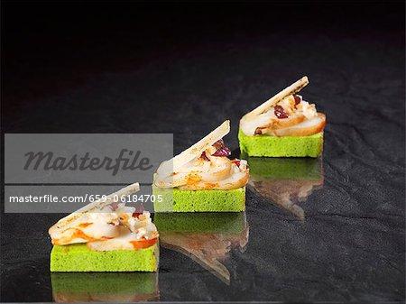 Slices of northern shrimp with lardo