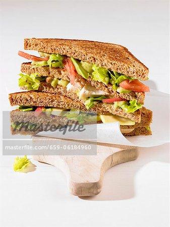 A chicken and avocado sandwich