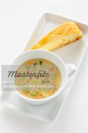 Heidensterz soup (Soup made with buckwheat flour, Austria)