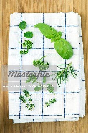 Various fresh herbs on a tea towel