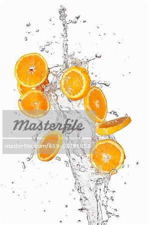 Orange slices and a splash of water