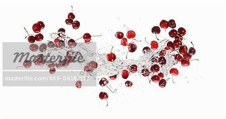 Cherries and a splash of water