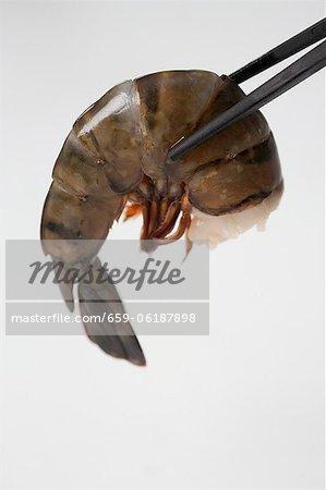 Raw prawn held in chopsticks (close-up)