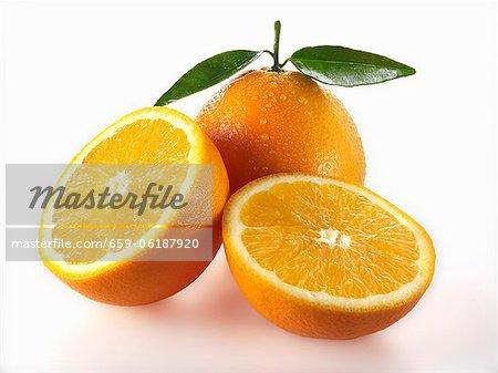 Oranges, whole and halves