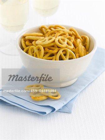A bowl of salted pretzels