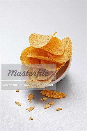 Potato crisps in bowls