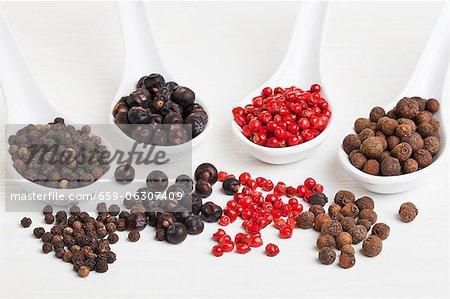 Allspice berries, pink pepper, juniper berries and black peppercorns on spoons