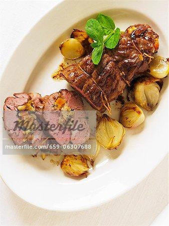 Stuffed roast lamb