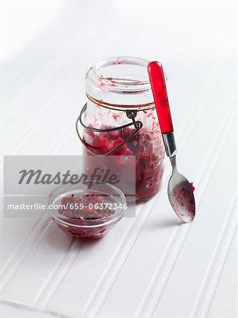 Cranberry jam in a jar