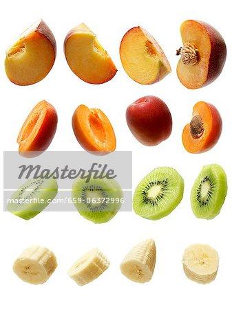 Peaches, apricots, kiwis and bananas