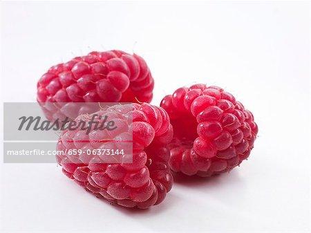Three raspberries (close-up)