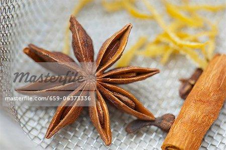 Star anise, cloves and a cinnamon stick