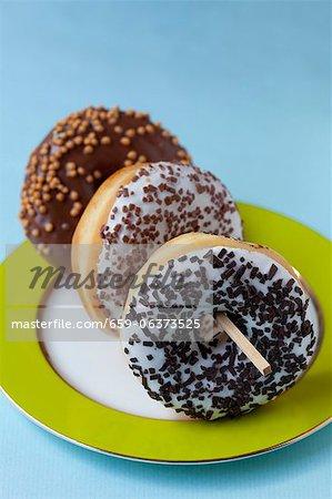 Glazed doughnuts with chocolate sprinkles