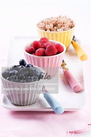 An arrangement of berries: blueberries, raspberries and white currants