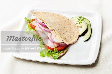 Turkey and Swiss Cheese Sandwich on Flatbread