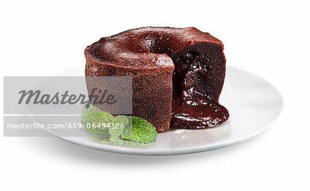 Chocolate Filled Flourless Mini Chocolate Cake; Mint Garnish
