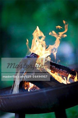 Burning barbecue coals