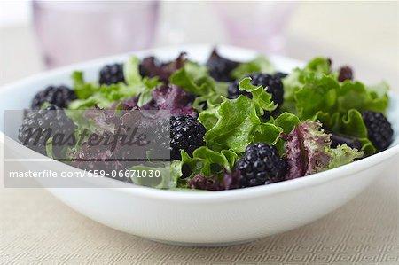 Organic Greens and Blackberry Salad