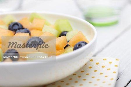 Bowl of Fruit Salad; Cantaloupe, Honeydew and Blueberries