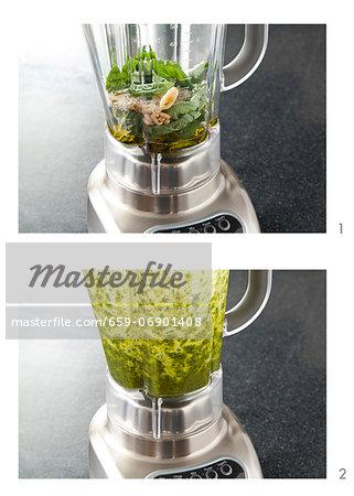 Making Pesto in a Blender