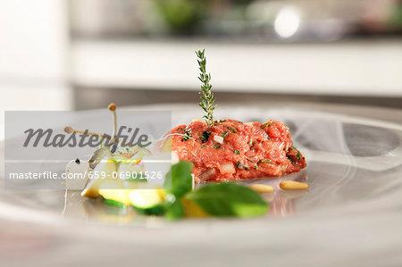 Tartar with a Mediterranean salad