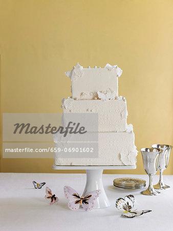 Three Tier Wedding Cake with Butterflies