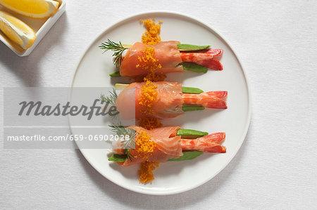 Avocado, prawn and salmon bites
