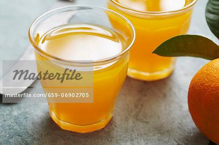 Fresh orange juice in a glass