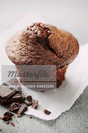 A chocolate muffin