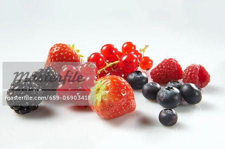 Blackberries, redcurrants, strawberries, blueberries and raspberries