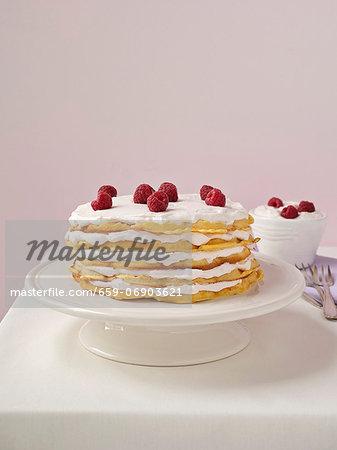 Waffle layer cake with raspberries