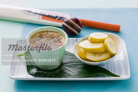 Vanilla mousse and sliced banana