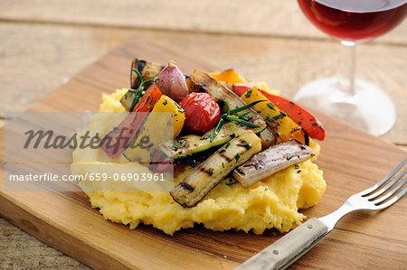 Grilled Vegetables With Polenta, selective focus