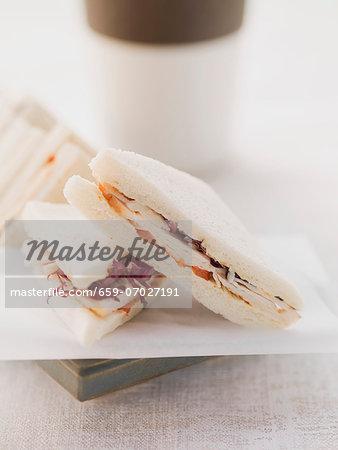 Tramezzini sandwich with radicchio and tomatoes