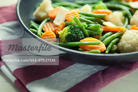 Pan-fried broccoli, cauliflower, carrots and beans